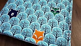 Textil - Mentolová deka lesné zvieratká - biela minka - 10716646_