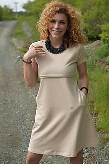 """Tehotenské/Na dojčenie - """"A""""-čkové šaty na dojčenie s krátkym rukávom a vreckami - Piesková - 10715629_"""