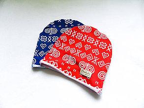 Čiapky - tenká čiapka Čičmany červená - 10715219_