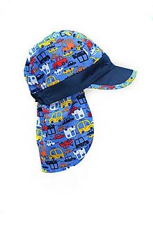 Detské čiapky - Šiltovka s plachtičkou proti slnku Modré autá - 10715916_