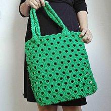 Veľké tašky - Zelená háčkovaná taška - 10717706_