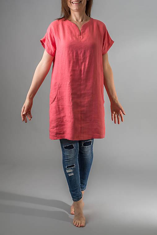 Ľanová tunika / šaty Kate, koralová
