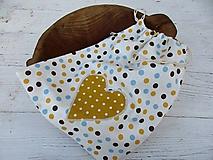 Úžitkový textil - modro-žltá bodka - 10716895_