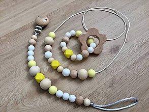 """Detské doplnky - Set hryzátko + retiazka na cumlík + náhrdelník """"Yellow Fellow"""" (S hryzátkom - kvietok) - 10715939_"""