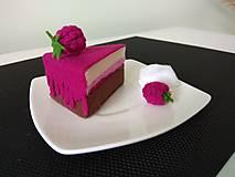 Hračky - Šitý malinový cheesecake (Bordová) - 10716993_