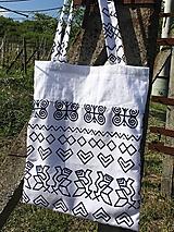 Nákupné tašky - Bavlnená taška s ľanom Čičmany - 10715834_