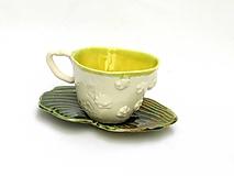 Nádoby - šálka žltá s tanierikom  ginko list - 10715847_