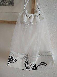 """Úžitkový textil - Bez obalu, nákupné vrecko veľké (Bielo-čierna,  """"leafs"""") - 10717124_"""
