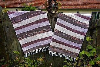 Úžitkový textil - Tkané koberce hnedo-bordové 2 ks - 10717079_