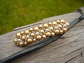 Ozdoby do vlasov - Svadobná spona perličková zlatá - 10719866_