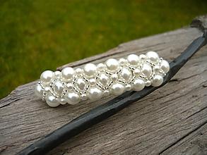 Ozdoby do vlasov - Svadobná spona perličková biela - 10719980_