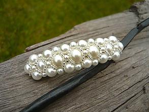 Ozdoby do vlasov - Svadobná spona perličková biela-ivory - 10720003_