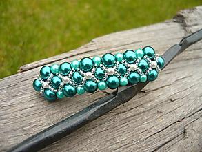 Ozdoby do vlasov - Svadobná spona perličková smaragdová - 10720018_