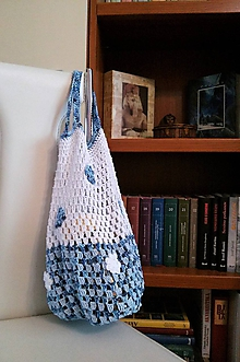 Nákupné tašky - Sieťovka modro - biela - 10719756_