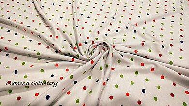 Textil - Úplet Bodky 6 mm - farebné - cena za 10 centimetrov - 10720183_
