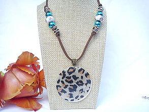 Náhrdelníky - Náhrdelník/vintage/leopard/perleť - 10719450_