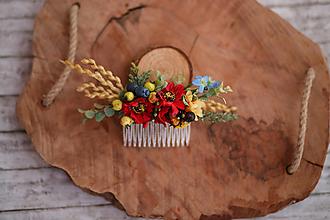 Ozdoby do vlasov - Folklórny kvetinový hrebienok do vlasov - 10718547_
