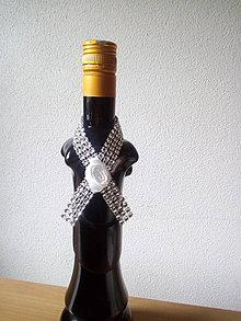 Pierka - stuhy na fľaše strieborné - 10719910_