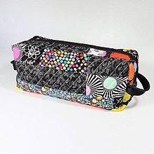 Taštičky - Patchwork kozmetická taštička boxy (čierna-farebná) - 10718401_