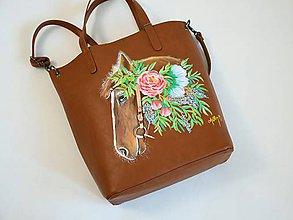 Veľké tašky - Ručne maľovaná kabelka ,, koník'' - 10718594_