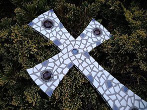 Dekorácie - Kríž modro-biely - 10719633_