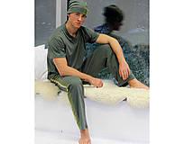 Pyžamy a župany - Olive - nohavice s hodvábnym pásom - 10718174_