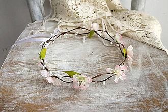 Ozdoby do vlasov - Kvetinový venček ,,ružové kvety,, - 10720051_