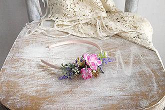 Ozdoby do vlasov - Kvetinová čelenka ,,ružová,, - 10720064_