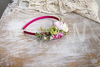 Ozdoby do vlasov - Kvetinová čelenka ,,ružová,, - 10720105_