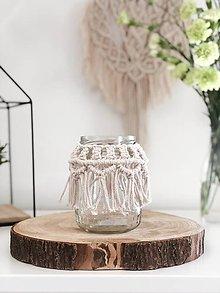 Svietidlá a sviečky - Macramé BOHO svietnik - 10719669_