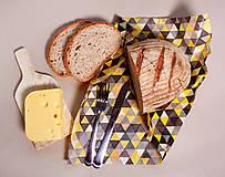 Úžitkový textil - Voskovaný obrúsok - Trojuholníky žlté (35x35cm) - 10719209_