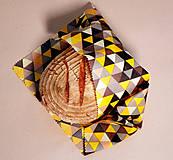 Úžitkový textil - Voskovaný obrúsok - Trojuholníky žlté (35x35cm) - 10719210_