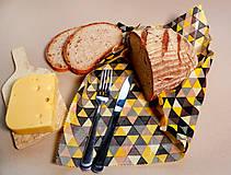 Úžitkový textil - Voskovaný obrúsok - Trojuholníky žlté (35x35cm) - 10719212_