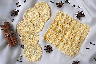 Úžitkový textil - Set háčkovaných odličovacích tampónov a žinky - farba žltá/vanilka - 10720206_