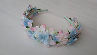 Detské doplnky - Kvetinova celenka - bledomodra - 10719050_