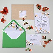 Papiernictvo - Oranžové kvietky - oznámenie - 10718993_