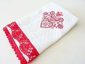 Úžitkový textil - Vaflová utierka s folkovým motívom a krajkou, červená - 10719213_