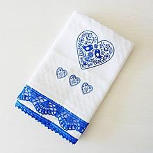 Úžitkový textil - Vaflová utierka s folkovým motívom a krajkou, modrá - 10719229_
