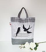Nákupné tašky - Ekotaška s lastovičkami - 10719155_