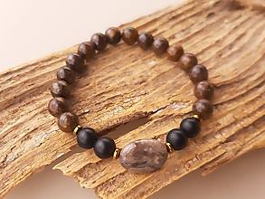 Šperky - Náramok bronzit, ónyx a jaspis - 10723241_