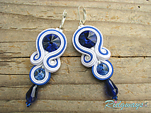 Náušnice - White - Blue/Red...soutache - 10720986_