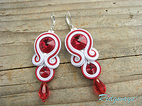 Náušnice - White - Blue/Red...soutache (White/Red) - 10720973_