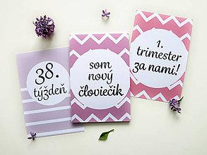 Detské doplnky - Míľnikové kartičky - tehotenské (ružové) UNI - 10722028_