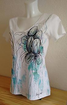 Tričká - Ručnemaľované tričko - Tyrkis - 10721006_