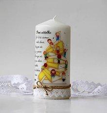 Svietidlá a sviečky - Dekoračná sviečka pre pani učiteľky - 10722102_