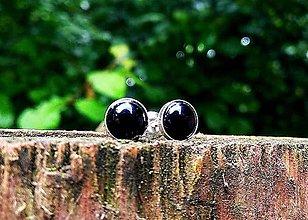 Náušnice - Strieborné náušnice Ag925 s čiernym onyxom - 10721064_