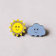 Náušnice - slniečko a obláčik ~ napichovačky (farebné) - 10722002_
