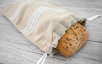 Úžitkový textil - Ľanové vrecúško na chlieb alebo iné pečivo - 10721455_