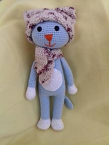 Hračky - Mačička v zimnom outfite (Modrá) - 10722118_