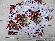 Textil - detské bezodpadové obrúsky-sova - 10720769_